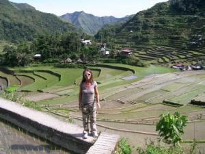 walking trought the rice terrace